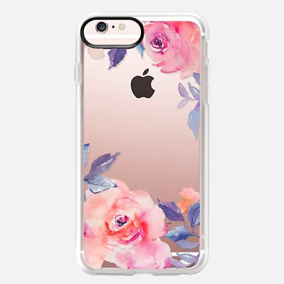 iPhone 6s Plus Case - Cute Watercolor Flowers Purples + Blues