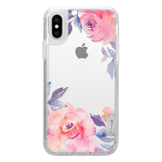 iPhone X เคส - Cute Watercolor Flowers Purples + Blues