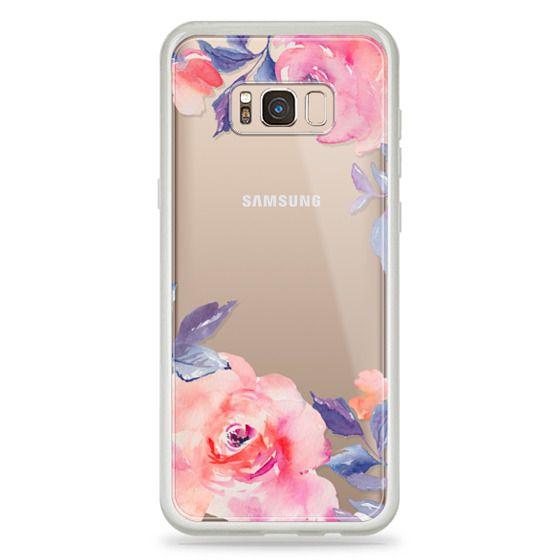 Galaxy S8 Plus Case - Cute Watercolor Flowers Purples + Blues
