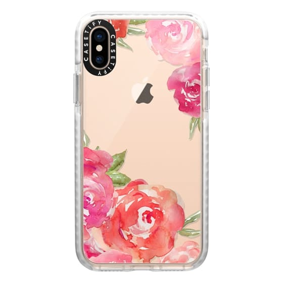 iPhone XS Cases - Pretty Pink Peonies Watercolor Peony Flowers