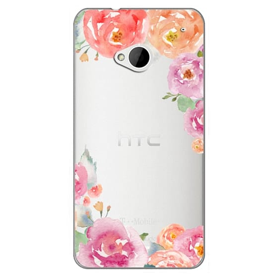 Htc One Cases - Pretty Watercolor Flowers Painted Design