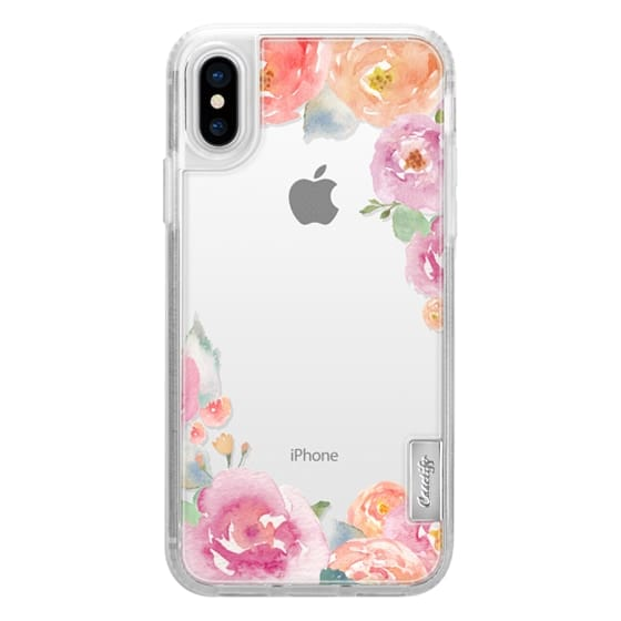 iPhone X Cases - Pretty Watercolor Flowers Painted Design