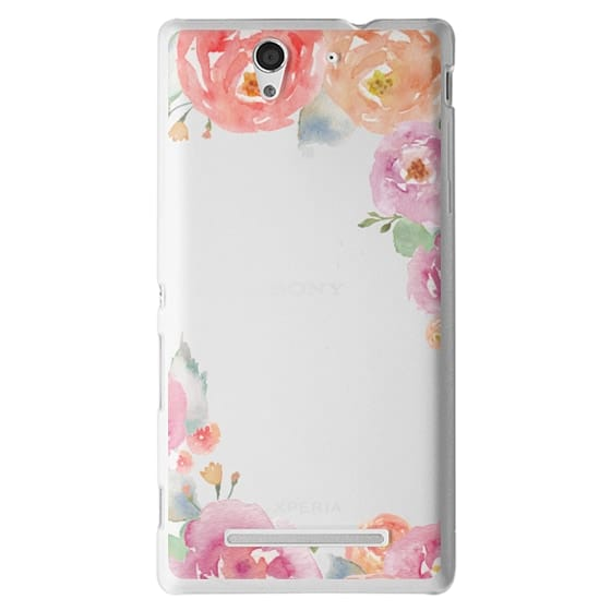Sony C3 Cases - Pretty Watercolor Flowers Painted Design