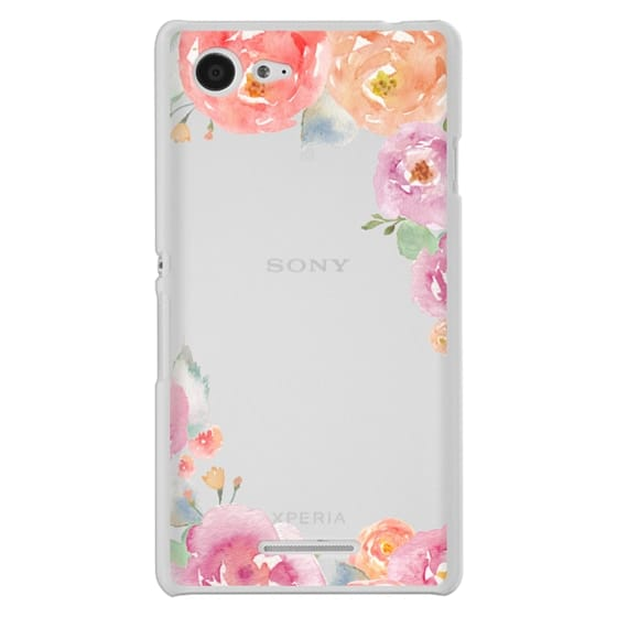 Sony E3 Cases - Pretty Watercolor Flowers Painted Design