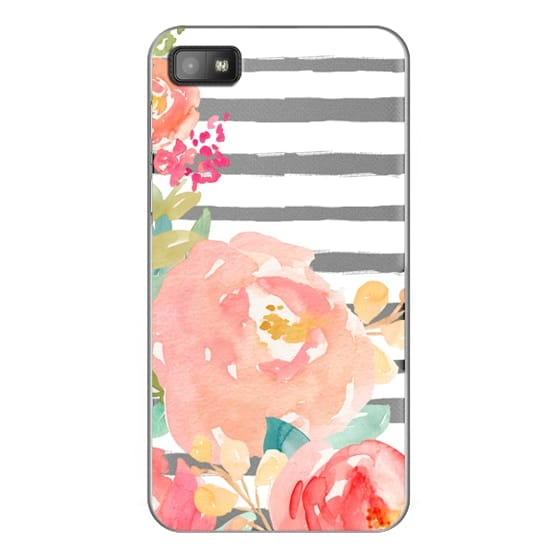 Blackberry Z10 Cases - Watercolor Flower Peonies With Stripes