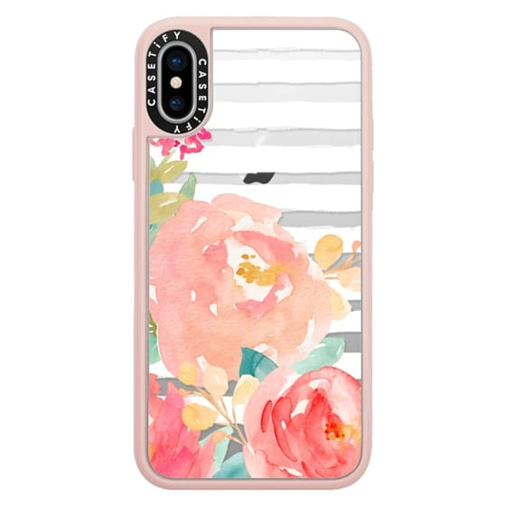 iPhone X Cases - Watercolor Flower Peonies With Stripes