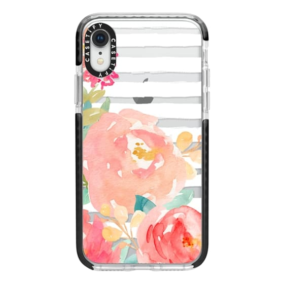 iPhone XR Cases - Watercolor Flower Peonies With Stripes