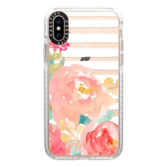 iPhone XS Cases - Watercolor Flower Peonies With Stripes