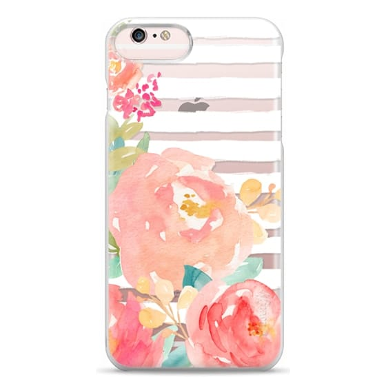 iPhone 6s Plus Cases - Watercolor Flower Peonies With Stripes