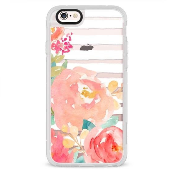 iPhone 4 Cases - Watercolor Flower Peonies With Stripes