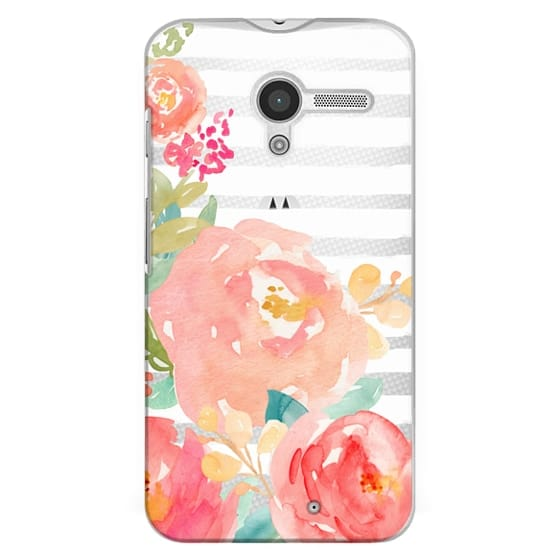 Moto X Cases - Watercolor Flower Peonies With Stripes
