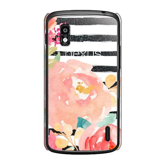 Nexus 4 Cases - Watercolor Flower Peonies With Stripes