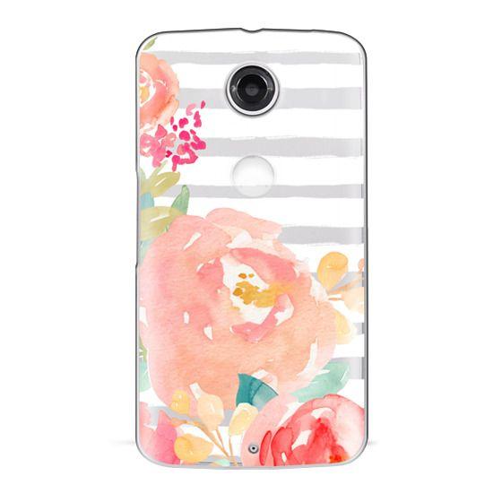 Nexus 6 Cases - Watercolor Flower Peonies With Stripes