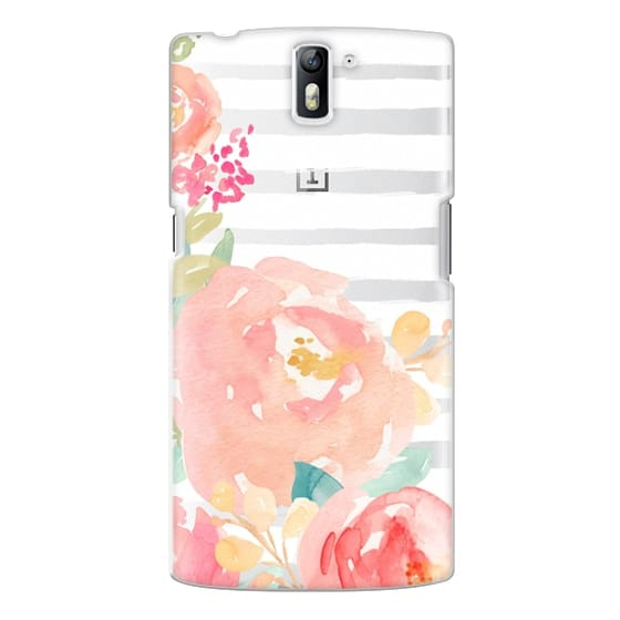 One Plus One Cases - Watercolor Flower Peonies With Stripes