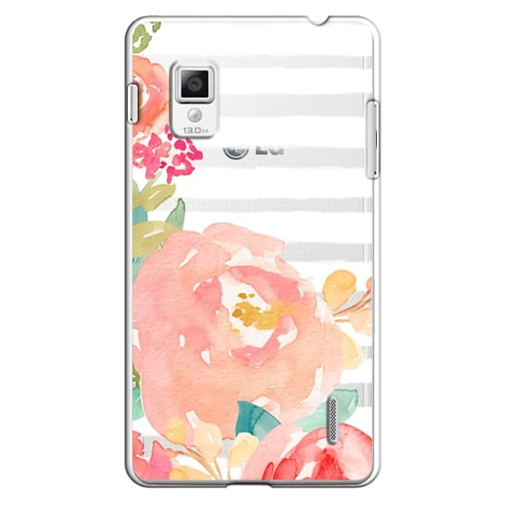 Optimus G Cases - Watercolor Flower Peonies With Stripes