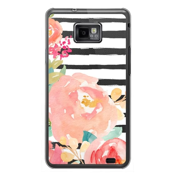 Samsung Galaxy S2 Cases - Watercolor Flower Peonies With Stripes