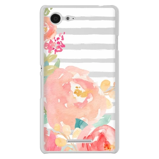 Sony E3 Cases - Watercolor Flower Peonies With Stripes