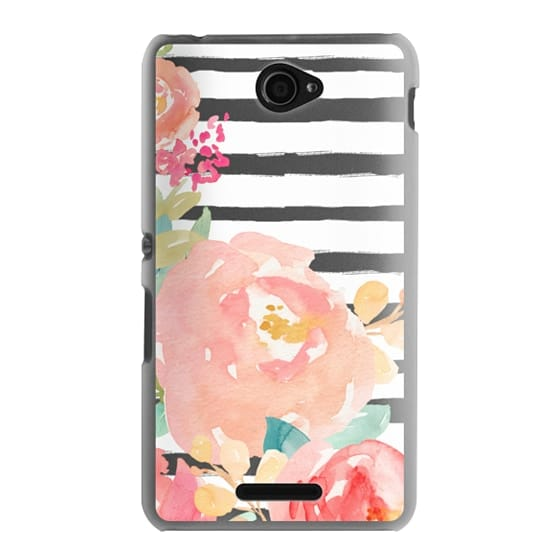 Sony E4 Cases - Watercolor Flower Peonies With Stripes