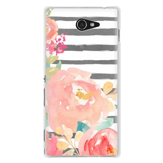 Sony M2 Cases - Watercolor Flower Peonies With Stripes