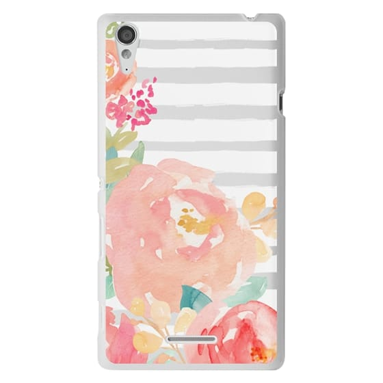 Sony T3 Cases - Watercolor Flower Peonies With Stripes