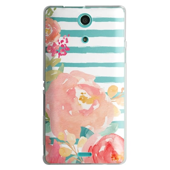 Sony Zr Cases - Watercolor Flower Peonies With Stripes
