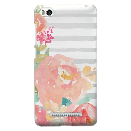 Xiaomi 4i Cases - Watercolor Flower Peonies With Stripes