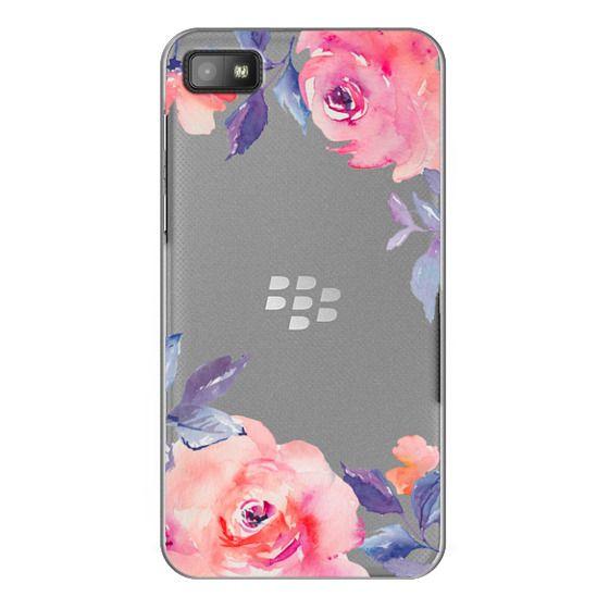 Blackberry Z10 Cases - Cute Watercolor Flowers Purples + Blues