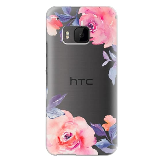 Htc One M9 Cases - Cute Watercolor Flowers Purples + Blues