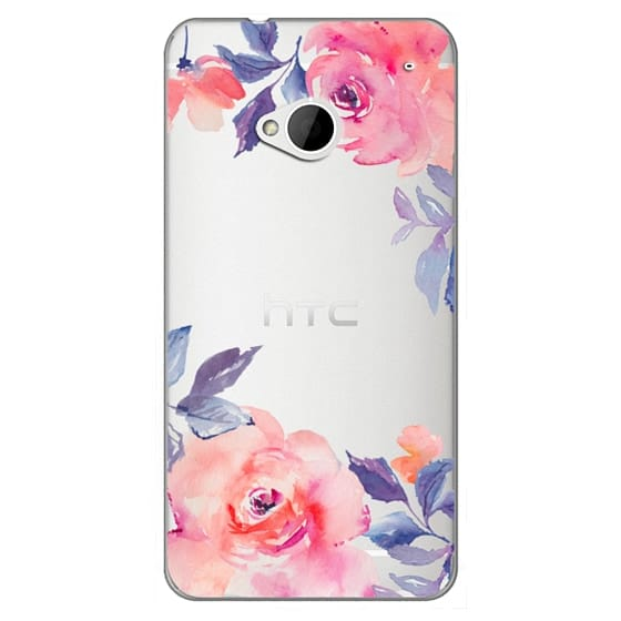 Htc One Cases - Cute Watercolor Flowers Purples + Blues