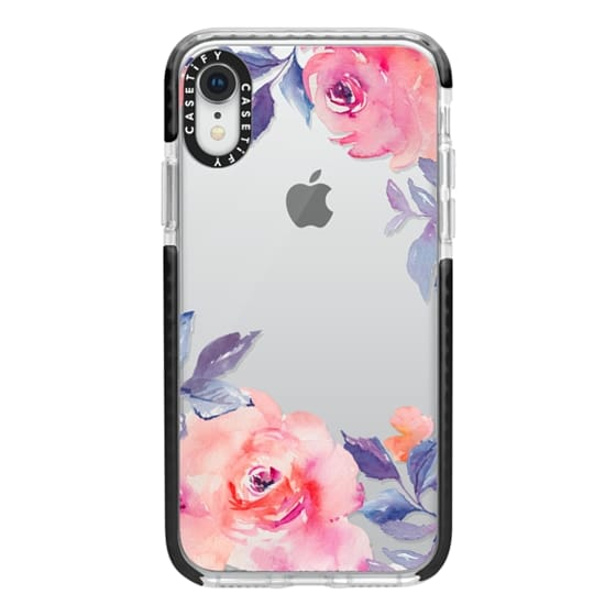 iPhone XR Cases - Cute Watercolor Flowers Purples + Blues