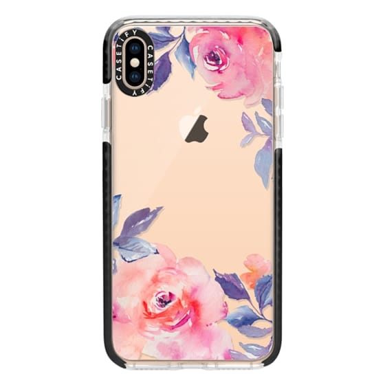 iPhone XS Max Cases - Cute Watercolor Flowers Purples + Blues