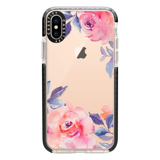 iPhone XS Cases - Cute Watercolor Flowers Purples + Blues