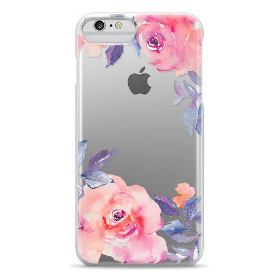 iPhone 6 Plus Cases - Cute Watercolor Flowers Purples + Blues