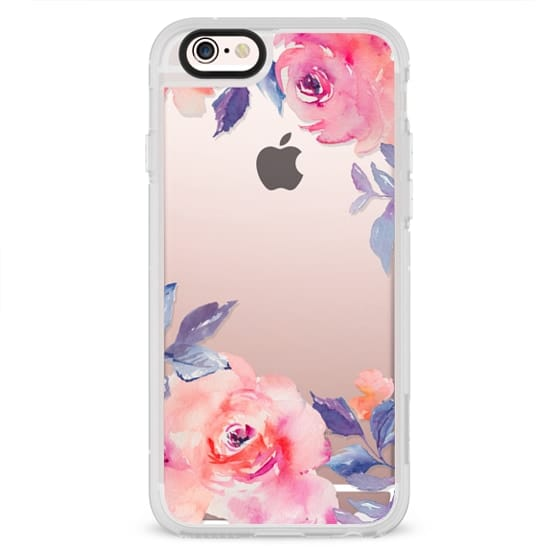 iPhone 4 Cases - Cute Watercolor Flowers Purples + Blues