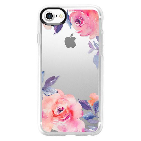 iPhone 7 Cases - Cute Watercolor Flowers Purples + Blues