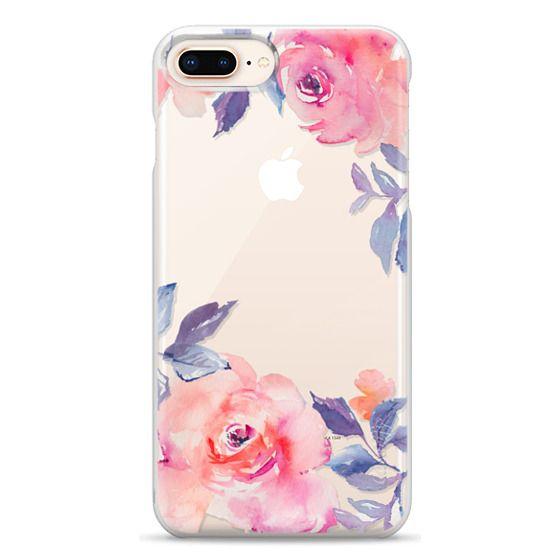 iPhone 8 Plus Cases - Cute Watercolor Flowers Purples + Blues