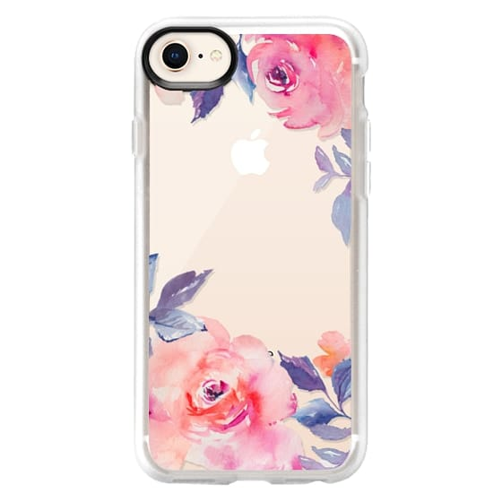 iPhone 8 Cases - Cute Watercolor Flowers Purples + Blues