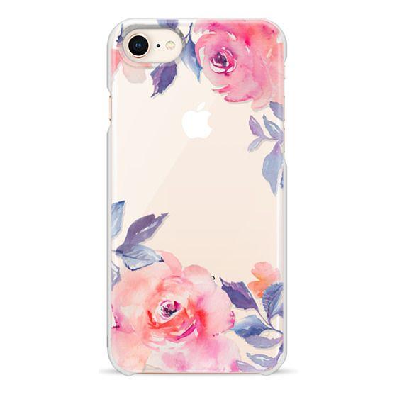 iPhone 8 Cases - Cute Watercolor Flowers Purples + Blues