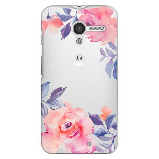 Moto X Cases - Cute Watercolor Flowers Purples + Blues