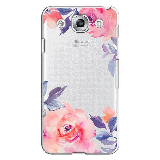 Optimus G Pro Cases - Cute Watercolor Flowers Purples + Blues