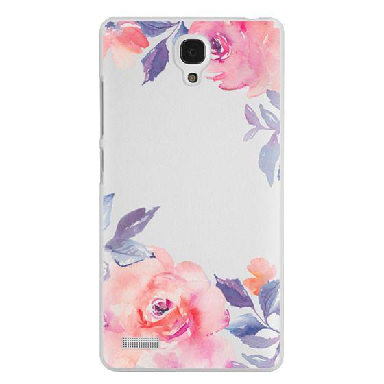 Redmi Note Cases - Cute Watercolor Flowers Purples + Blues