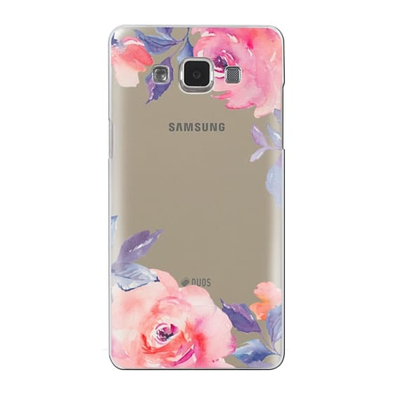 Samsung Galaxy A5 Cases - Cute Watercolor Flowers Purples + Blues