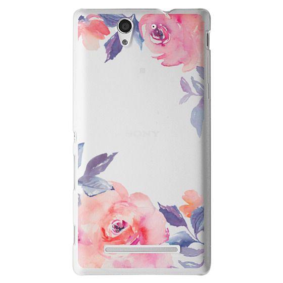 Sony C3 Cases - Cute Watercolor Flowers Purples + Blues