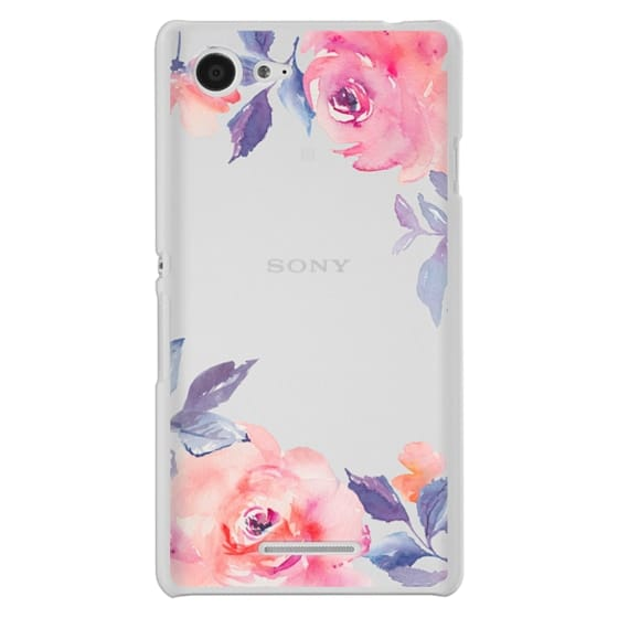 Sony E3 Cases - Cute Watercolor Flowers Purples + Blues