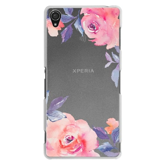 Sony Z3 Cases - Cute Watercolor Flowers Purples + Blues