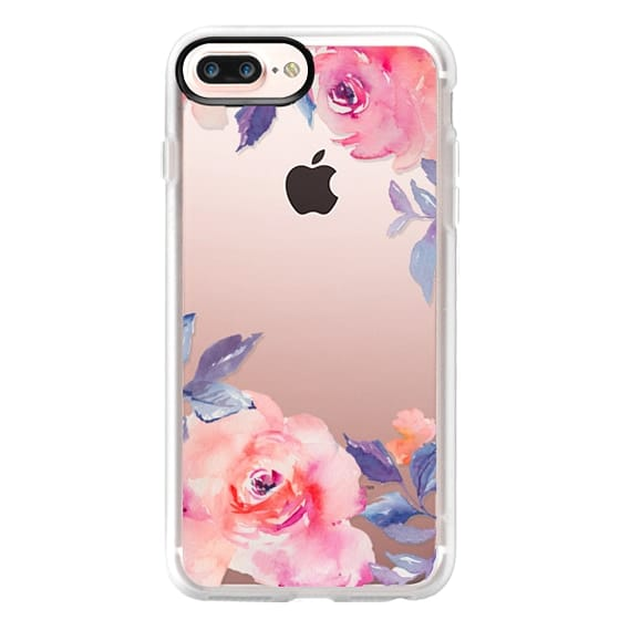 iPhone 7 Plus Cases - Cute Watercolor Flowers Purples + Blues