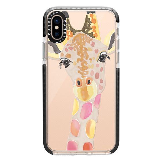 iPhone XS Cases - Giraffe In Pink