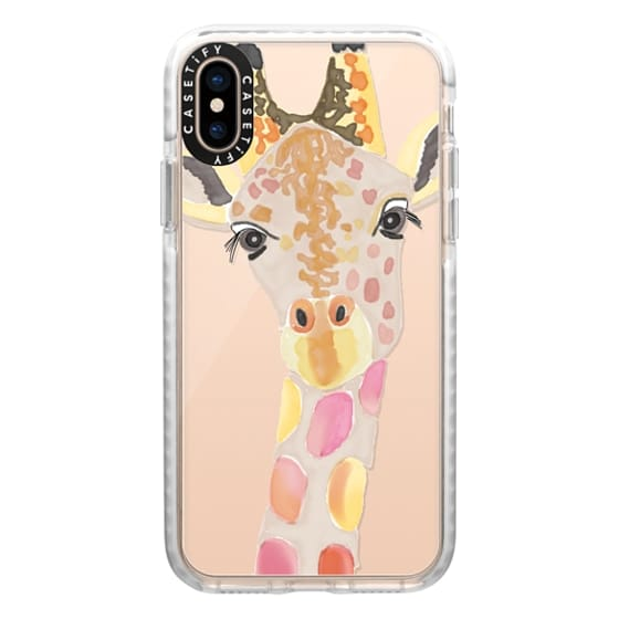 iPhone XS Cases - Giraffe In Pink