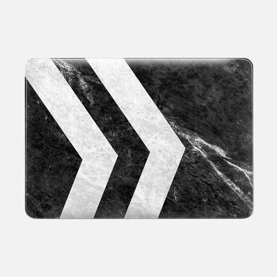 Black 2 Striped Marble - Macbook スナップ式ケース
