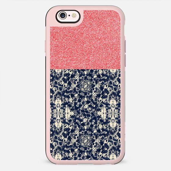 peach sparkle blue lace - New Standard Case